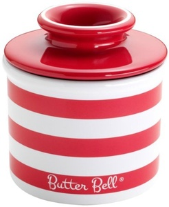 The Original Butter Bell Crock by L. Tremain, Candy Apple Red Striped by Butter Bell Crocks