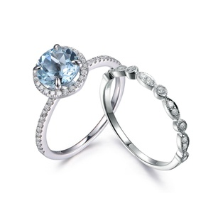 14K White Gold Half Eternity Wedding Set,Round Aquamarine Ring,Diamond Engagement Ring,4 Prong Ring