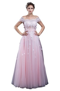 Avril Dress Glamorous off the shoulder Empire Tulle Wedding Bridal Dress New-4-Pink