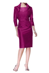 Avril Dress Elegant Knee-Length Mother of Bride With Jacket Taffta Party Dress New-22W-Fuchsia