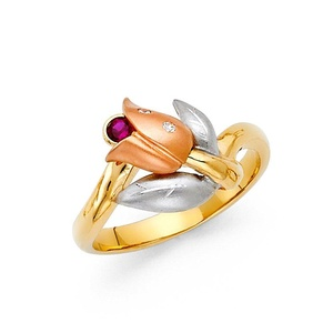 Tri-color 14K Solid Yellow Gold Magenta Round Cut Cubic Zirconia Flower Ring, Size 7.5