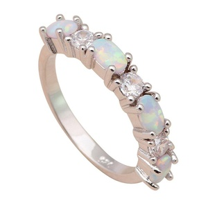 FT-Ring delicate design White fire Opal Jewelry For Women Engagement Wedding Bridal Rings