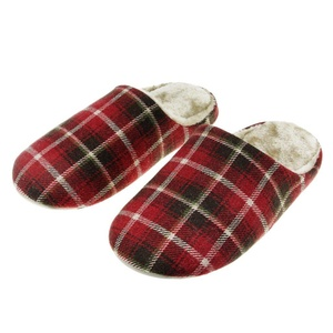 Mens Womens Couple Plaid Soft Cozy Cotton Thermal Household Slippers Winter Warm Faux Fur Fleece Scuff Mules Waterproof Leather Non-slip Sole Home Indoor Slip-on Shoes