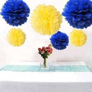 Joinwin 6pcs Tissue Paper Cream Baby Pink Pom Poms Flower Ball Hanging Pom for Wedding Party Outdoor Kid's Party Decor (Yellow and Navy Blue)