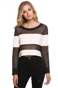 Fanala Women Off Shoulder Long Sleeve Mesh Patchwork Crop Top Sweatshirt Blouse
