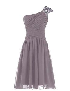 Framy Beaded One Shoulder Short Chiffon Pleated Prom Bridesmaid Dress Grey 2