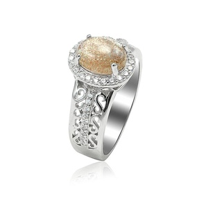 Accent Halo Art Deco Wedding Ring Oval Cut Simulated Druzy Golden Quartz Round CZ 925 Sterling Silver