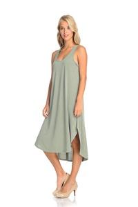 Emery Pointe Sleeveless Cupro Dress (Small, Sage)