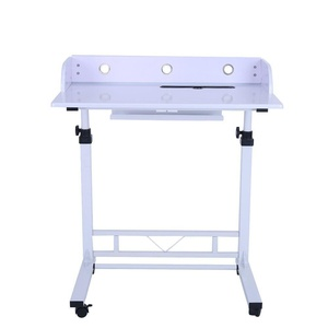 Adjustable Height Rolling Laptop Desk Table,Computer Desk for Writing, Reading and More Poarmeey (white)