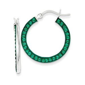 .925 Sterling Silver 25 MM Stellux Crystal Green Hoop Earrings