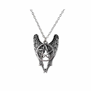 Angel Wings Pentagram Amulet Necklace by Jewelry - Necklace