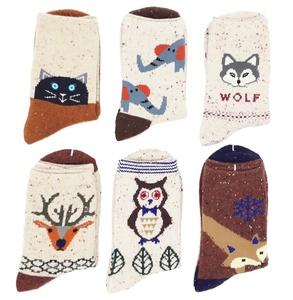 Women's Animal Pattern Casual Cartoon Socks 6 pairs