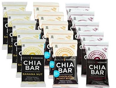 Health Warrior Chia Bars Banana Nut/Chocolate PB/Dark Chocolate Cherry Variety Pack (Pack of 15) by Health Warrior