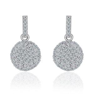 Ball Dangle Earrings for Women Prom Wedding Party,Top Grade Swiss CZ Earrings For Girl M&M Jewelry
