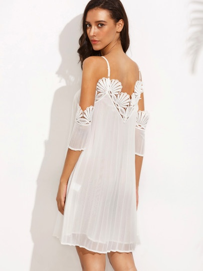 White Cold Shoulder Appliques Pleated Short Dress