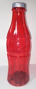 Coca-Cola Coke Red Bottle Coin Bank 11.75 In. by Coca-Cola