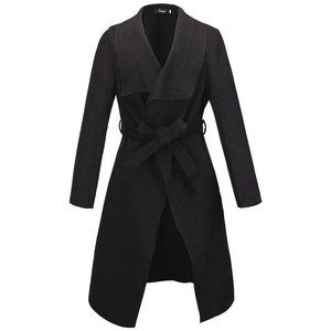 Kearia Womens Elegant Long Sleeves Duster Cape Belted Waterfall Long Trench Coat Jacket Black Medium
