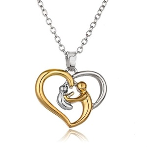 Rinhoo White Gold Plated Crystal Heart Pendant Necklace Mother's Day Gift Women Jewelry