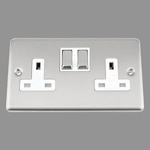A5 Socket 2 Gang - Satin Matt Chrome Classic - White Insert - Metal Rocker Switch by A5 Products