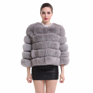 Topfur Womens Whole-skin Fox Fur Coat Elegant Short Grey Fur Outerwear US 10
