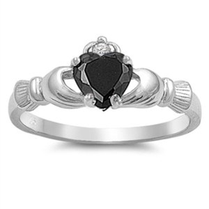 Claddagh Engagement Ring Simulated Onyx Black Cubic Zirconia Sterling Silver Best Friend Size 9