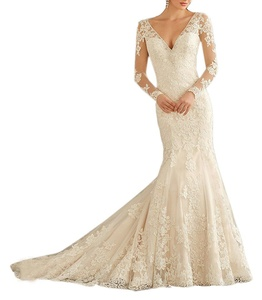 Meledy Women's V-Neck Long Sleeves Lace Appliques Full Back 2017 Long Mermaid Formal Church Wedding Dress Bridal Gowns Ivory US02