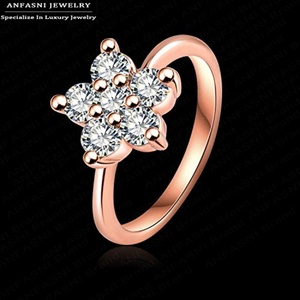 Slyq Jewelry Cute Fashion Austrian Crystal Flower Ring Rose Gold/Platinum PlatedSWA Stellux Little Flower Women Ring RIC0011