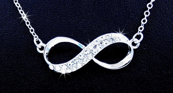 Love Forever Infinity Austrian Crystal Silver Tone Pendant Charm Necklace