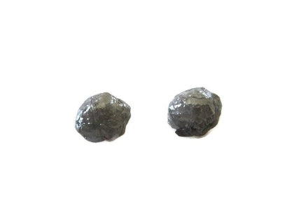 2 Pcs Matched Pair Gray Raw Rough Diamonds, Natural Uncut Round Loose Diamonds, 6mm Each Aprox SKU-DdS208