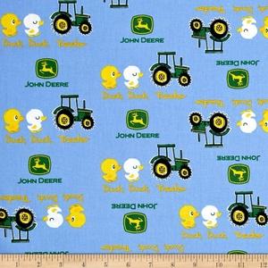 John Deere Nursery Duck Duck Tractor Blue Fabric By The Yard