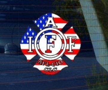 International Association of Firefighters IAFF USA FLAG - Car, Truck, Notebook, Bumper, Window Vinyl Sticker by Sticker Stand