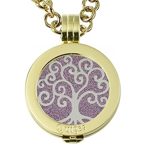 Quiges - Women Stainless Steel Necklace with 25mm Coin Locket and Coin Tree of Life/Flower of Life #1609