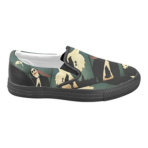 H-MOE Art Batman Men's Slip-on Canvas Shoes Casual Flats Breathable Sneakers,Black