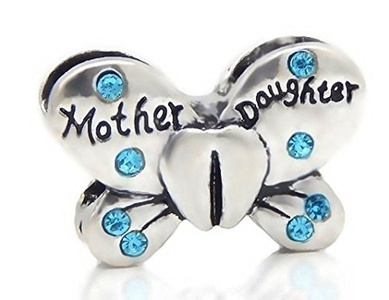 Cherityne Mother and Daughter Butterfly with Blue Crystals Fit Pandora Charm Silver Plated Bead