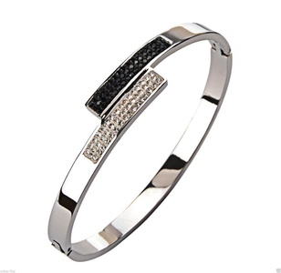 ABSCrystals White Black Stainless Steel Womens Bangle Bracelet