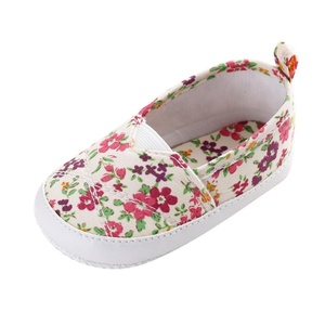 Alonea Toddler Infant Newborn Baby Girl Floral Printed Soft Sole Prewalker Shoes (13, White)