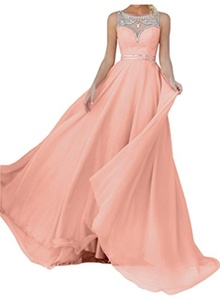 MILANO BRIDE Affordable Evening Dress Prom Gown A-line Rhinestones Beads Chiffon-26W-Coral