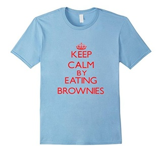 Men's Keep calm by eating Brownies Shirt 3XL Baby Blue