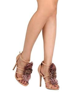 Qupid FF77 Women Faux Suede Open Toe Pom Pom Stiletto Sandal - Blush (Size: 6.5)