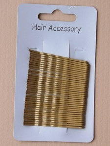 card of 36 gold blonde kirby grips. 4.5 cm. by Hair Accessory