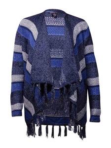Style & Co. Women's Stripe Fringe Trim Cardigan Sweater (L, Blue Combo)