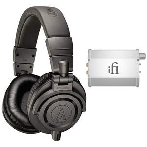 Audio-Technica Limited Edition Professional Studio Monitor Headphones - Matte Gray (ATH-M50xMG) with iFi Audio Nano iCAN Portable Headphone Amplifier for iPhone/iPod/Android & Mac/PC Devices