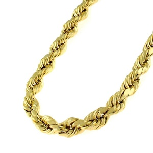 14k Yellow Gold Mens Womens 5.5mm Hollow Rope Diamond Cut Chain Necklace 24