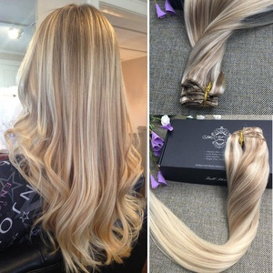 Full Shine 16 inch Nordic Balayage Blonde Hair Extensions Clip in Remy 100 Human Hair Extensions Dip Dye Hair Extensions Color #18 Fading to Color #22 and Color #60 Platinum Blonde 9Pcs 120Gram