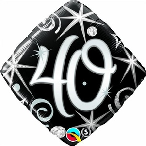Qualatex Black & Silver Elegant Sparkles & Swirls 40th Birthday 18 Foil Balloon by Black/Silver/White Balloons & Decorations