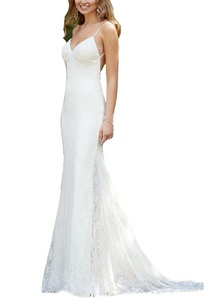 Meledy Women's V-Neck Spaghetti Lace Appliques Backless Mermaid Long Bridal Gowns Wedding Dress White US14