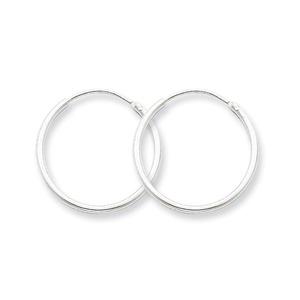 .925 Sterling Silver 20 MM Classic Endless Hoop Earrings