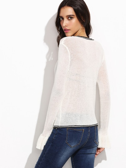 See Through White Tie Front Sweater