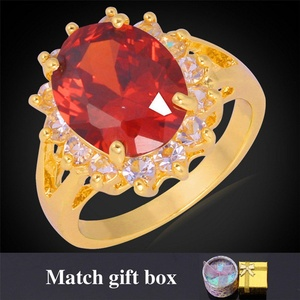 Slyq Jewelry Ruby Jewelry Crystal Ring FashionStamp Gold Plated Luxury 7 Color Cubic Zirconia Ring R354