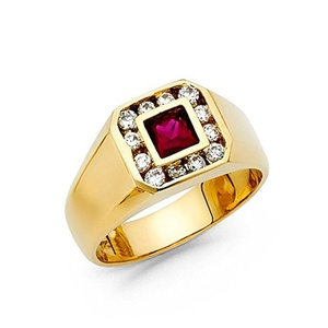 14K Solid Yellow Gold Purple Square Cut Cubic Zirconia Ring, Size 6.5